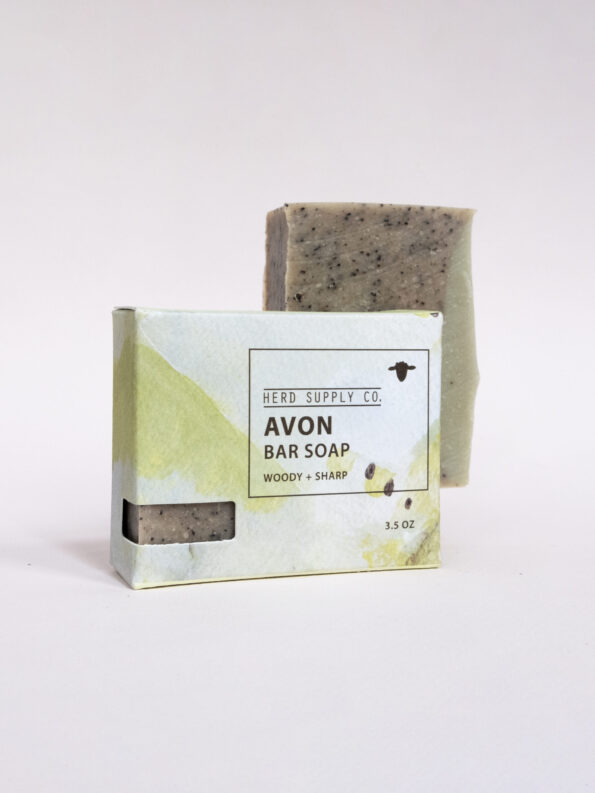 Herd Supply Co. Avon Sheep Milk Bar Soap with Green Watercolor Package_Woody and Sharp