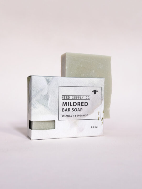 Herd Supply Co. Mildred Sheep Milk Soap Bar with Blue Watercolor Box_Bergamot and Orange