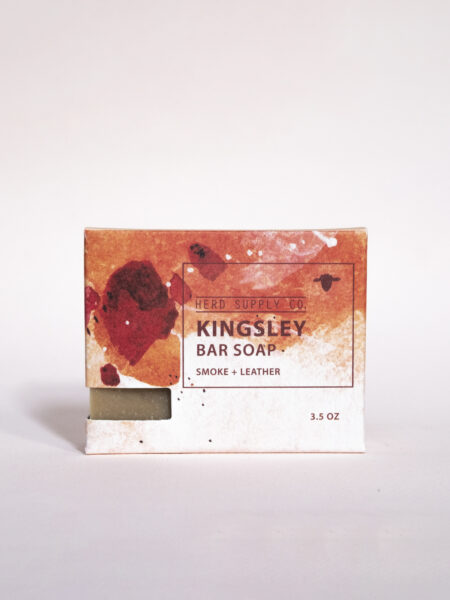 Herd Supply Co. Kingsley Sheep Milk Bar Soap in Red Watercolor Package_Smoke and Leather