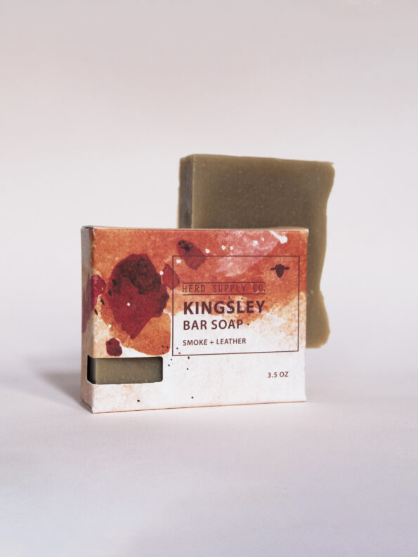 Herd Supply Co. Kingsley Sheep Milk Bar Soap with Orange Watercolor Package_Smoke and Leather