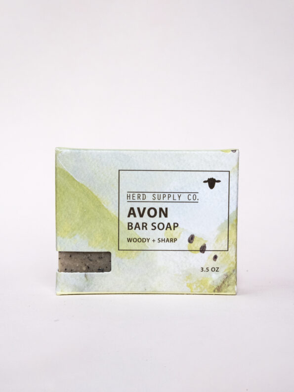 Herd Supply Co. Avon Sheep Milk Bar Soap in Green Watercolor Package_Woody and Sharp