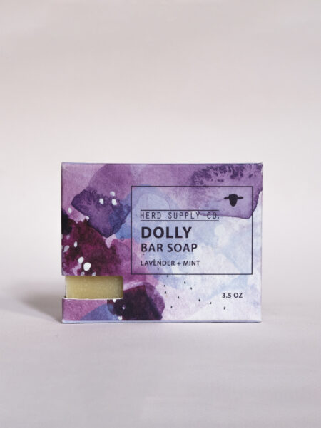 Herd Supply Co Dolly Sheep Milk Soap Bar in Purple Watercolor Box_Lavender and Mint