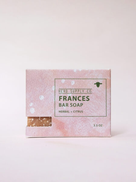 Herd Supply Co_Frances Bar Soap in Pink Watercolor Box_Grapefruit and Basil Scented