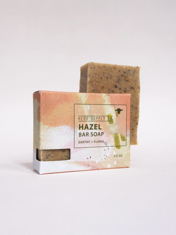 Herd Supply Co. Hazel Sheep Milk Soap Bar with Orange Watercolor Box_Earthy and Floral_Carrot and Litsea