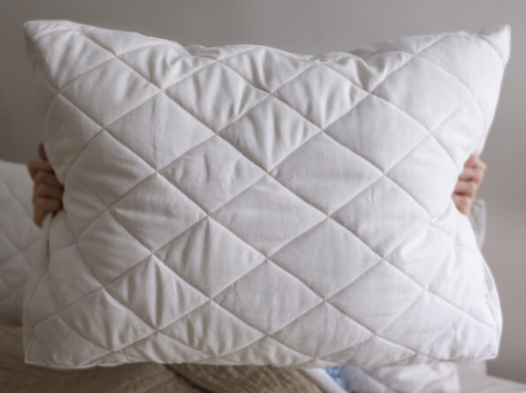 Herd Supply Co. Adjustable Quilted Wool Pillow with hemp cover and quilted diamonds