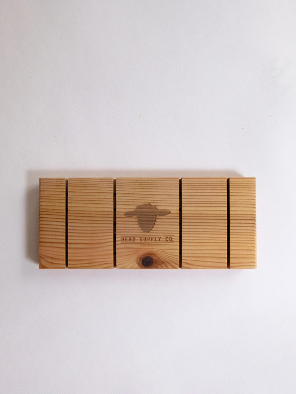 Long Cedar Soap Tray Back with Herd Supply Co logo engraving